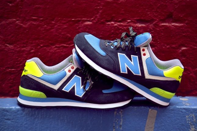 New Balance 574 The Yacht Club Collection Blue And Yellow Pair 1