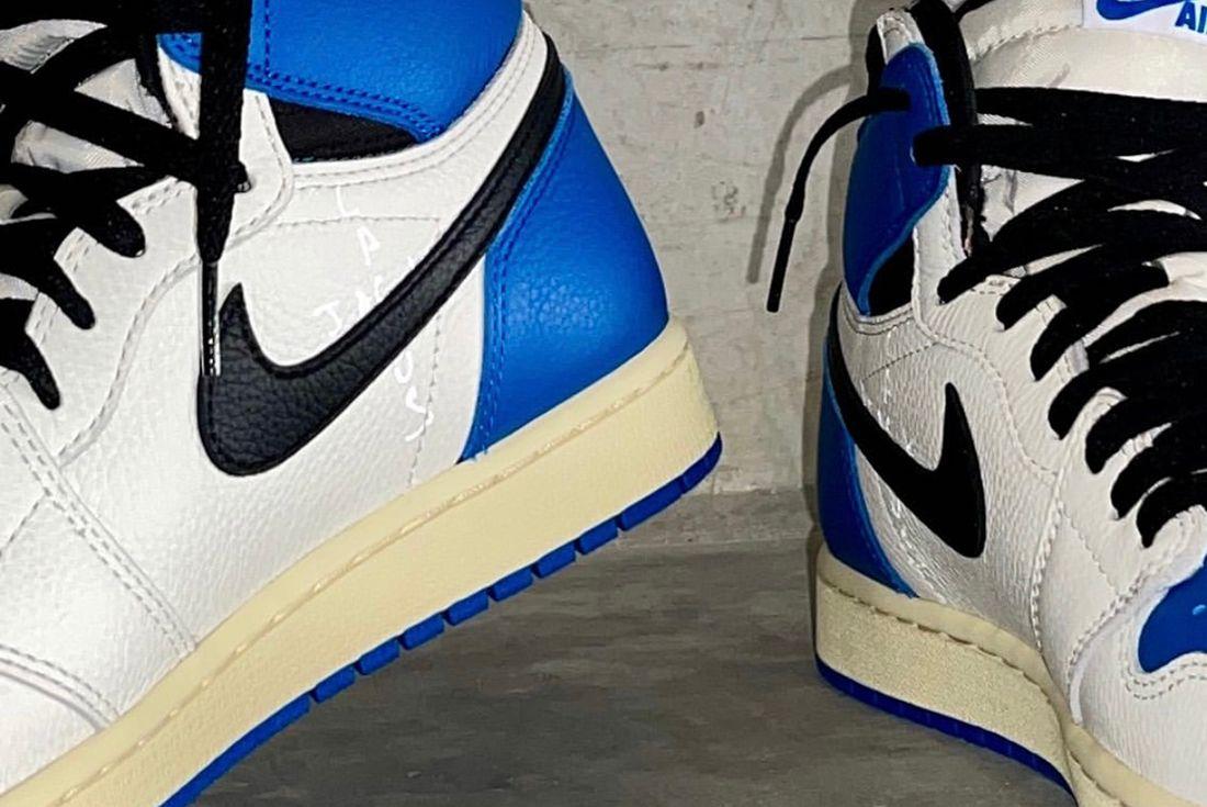 Travis Scott x Fragment x Air Jordan 1 on foot shots