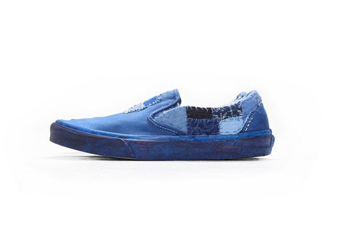 C2 H4 Vans Customised Patched Boro Indigo Slip On 4