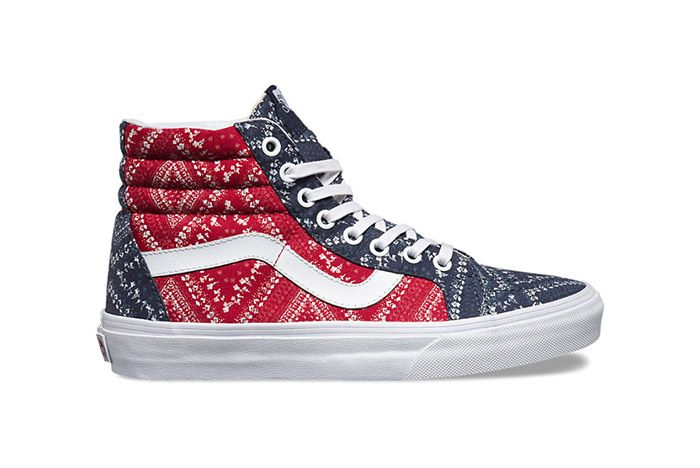 Vans Disty Bandana Womens Sk8 Hi Red Blue