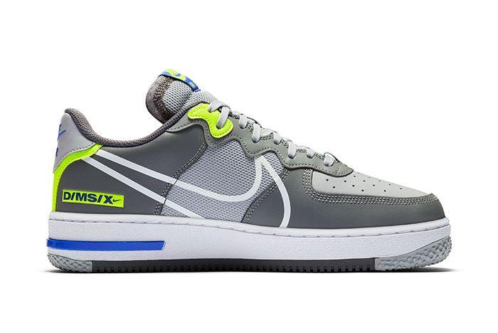 Nike Air Force 1 React Grey Heel Medial