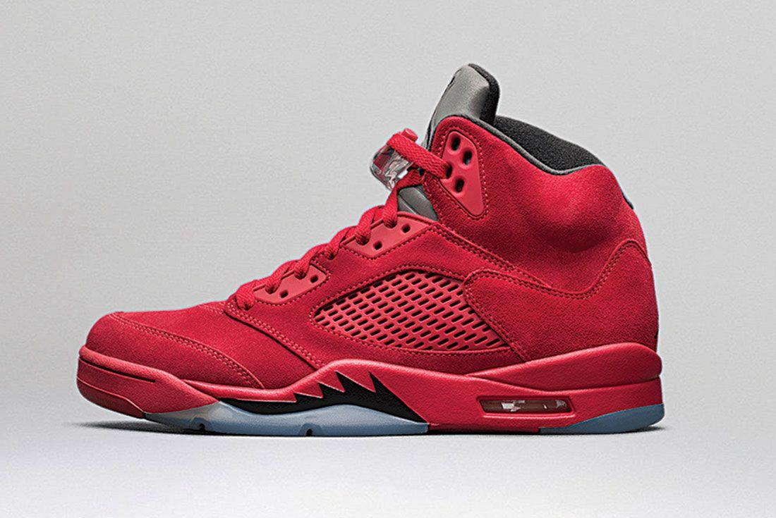 Air Jordan 5 Red Suede Left