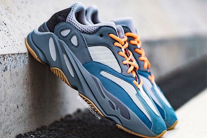 Adidas Yeezy Boost 700 Teal Blue On Foot Right 3
