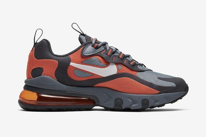 Nike Air Max 270 React Grey Orange Gs Medial