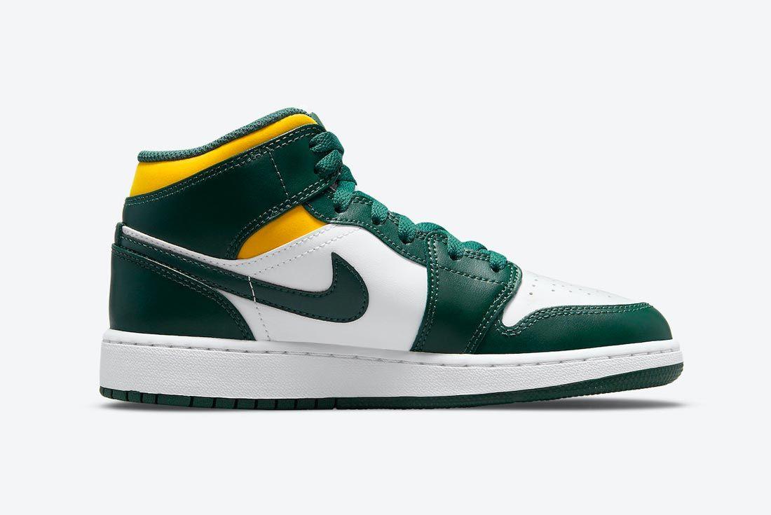 Air Jordan 1 Mid Green/White/Yellow