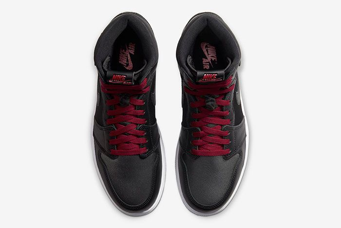 Air Jordan 1 Black Satin Gym Red 555088 060 Top