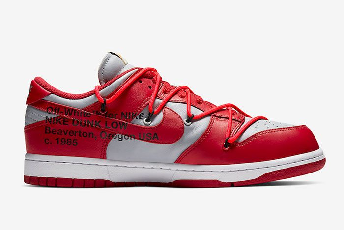 Off White Nike Dunk Low Red Grey Ct0856 600 Medial