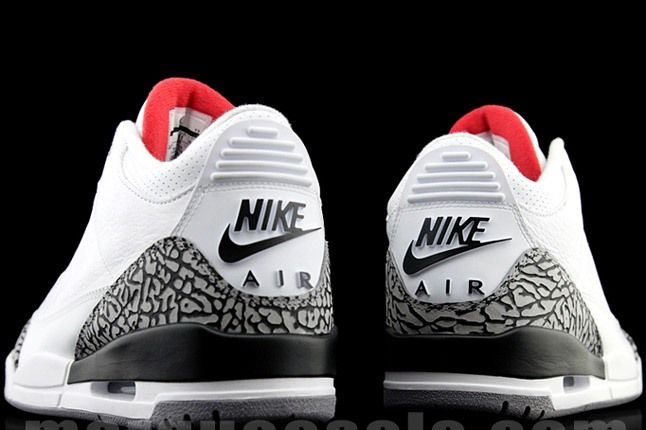 Air Jordan 3 Retro White And Elephant Print Lateral Heel Pair 1