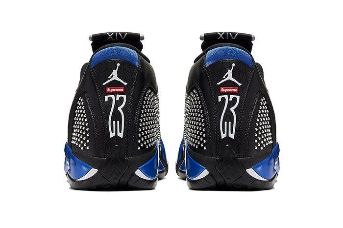 Supreme Air Jordan 14 Black Varsity Royal Bv7630 004 Release Date Heel