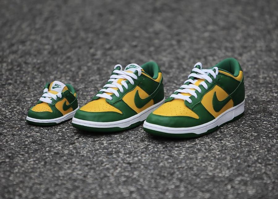 Nike Dunk Low Brazil Family Sizing Angled