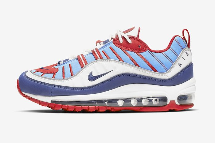 Nike Air Max 98 Sky Blue Navy Red White Ah6799 112 Release Date Lateral