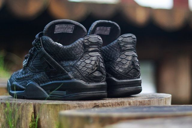 Mc Maggi Custom Air Jordan 4 Black Python Heel Angle