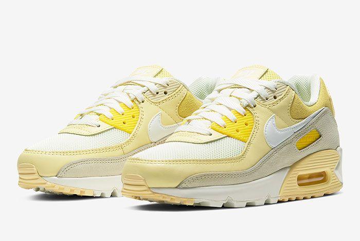 Nike Air Max 90 Lemon Cw2654 700 Three Quarter Lateral Side Shot