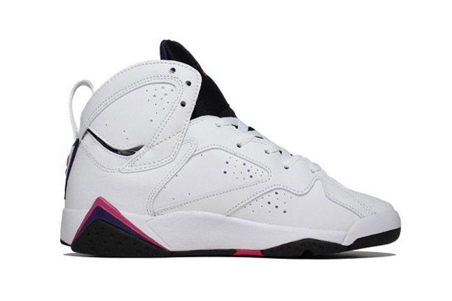 Air Jordan 7 White Fireberry Black Night Blue Side 1