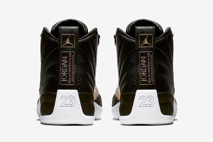 Air Jordan 12 Black Reptile Metallic Gold Ao6068 007 Heel