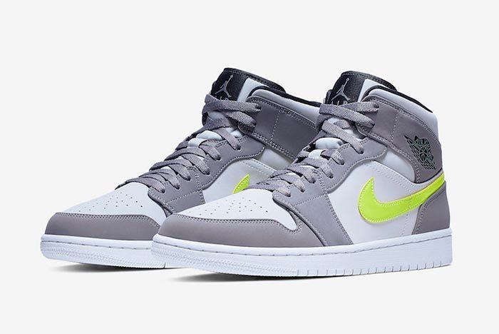Air Jordan 1 Neon Dark Grey 554724 072 Three Quarter Side Shot