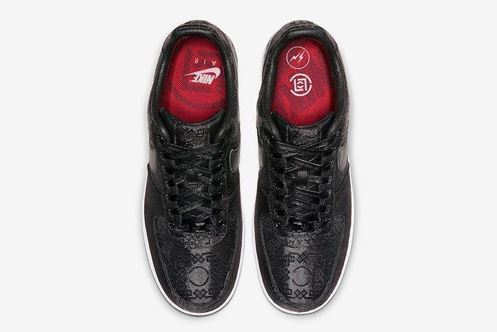 Clot Fragment Nike Air Force 1 Black Satin Above
