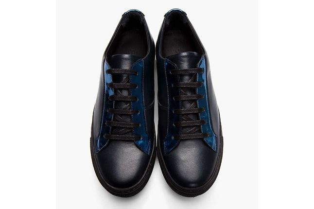 Raf Simons Blk Lthr Rflctive Silver Low Tops Aerial 1