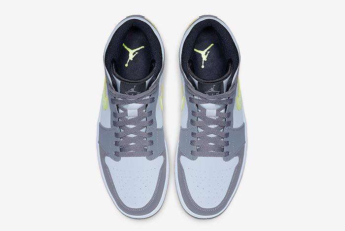 Air Jordan 1 Neon Dark Grey 554724 072 Above Shot