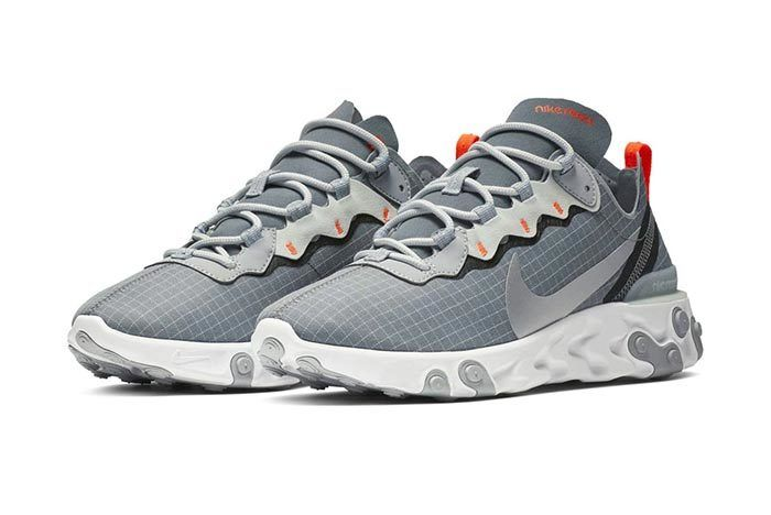 Nike React Element 55 Grey Orange Grid 1