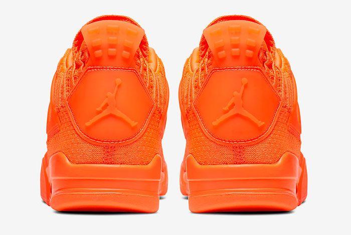 Air Jordan 4 Flyknit Total Orange Aq3559 800 Heel Shot