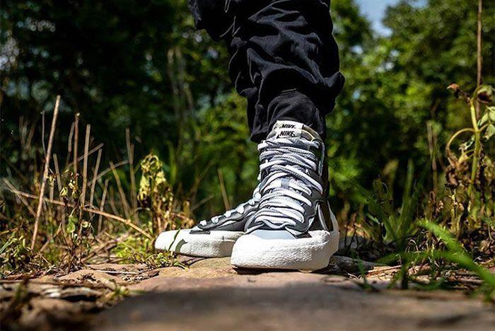 Nike Sacai Blazer Mid Grey Black Toe 2