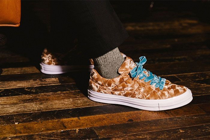 Golf Le Fleur Converse All Star Quilted Brown On Feet Right Side View