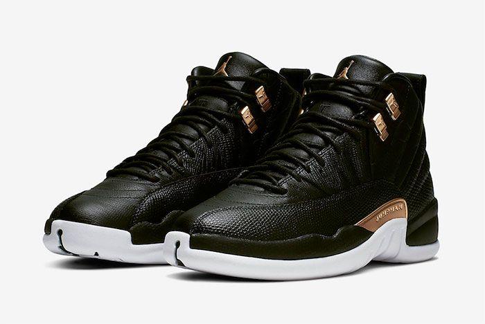Air Jordan 12 Black Reptile Metallic Gold Ao6068 007 Quarter