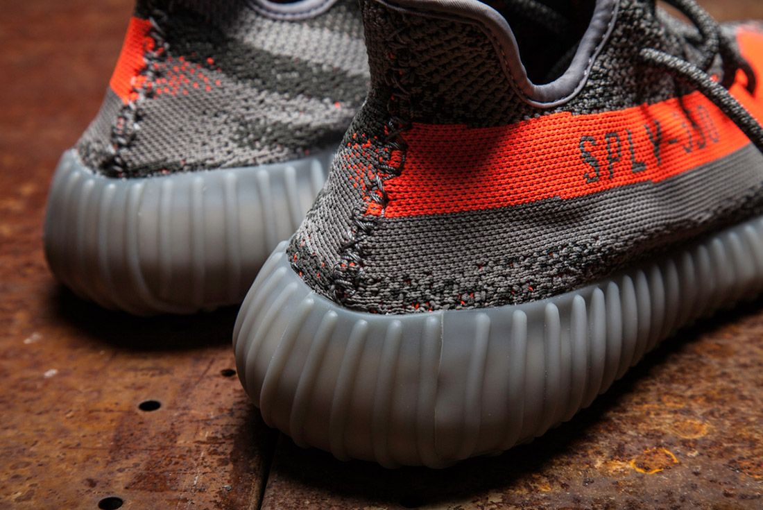 Adidas Yeezy 350 V2 Beluga Grey Orange Close Up 13