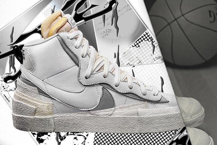 Sacai Nike Blazer White Grey Right Side Shot