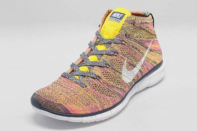 Nike Free Flyknit Chukka Pink Yellow Midnight Navy 02