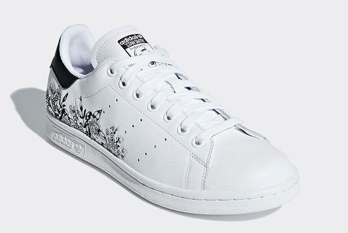 Adidas Stan Smith Floral Black White 2