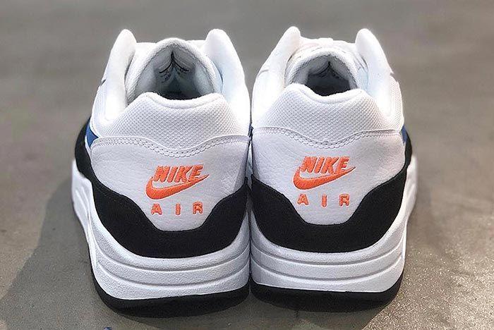 Nike Air Max 1 Ah8145 112 White Photo Blue Total Orange Heel Shot