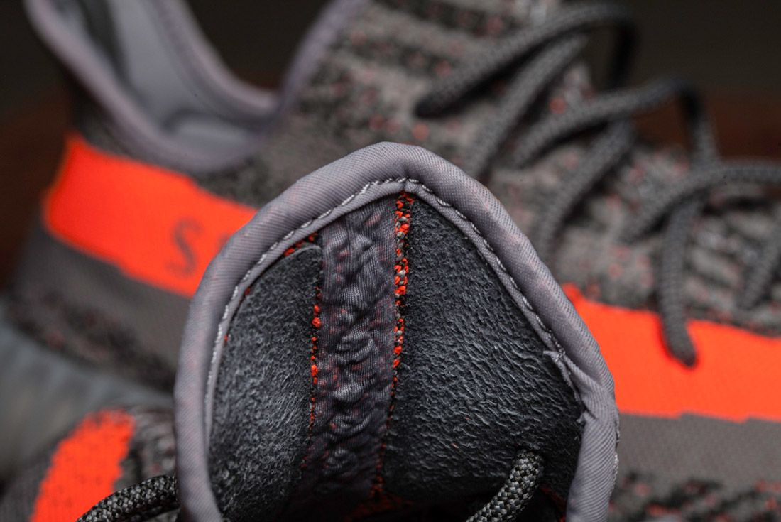 Adidas Yeezy 350 V2 Beluga Grey Orange Close Up 6