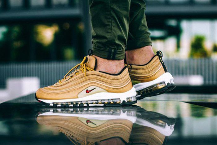 Nike Air Max 97 Metallic Gold On Feet 1