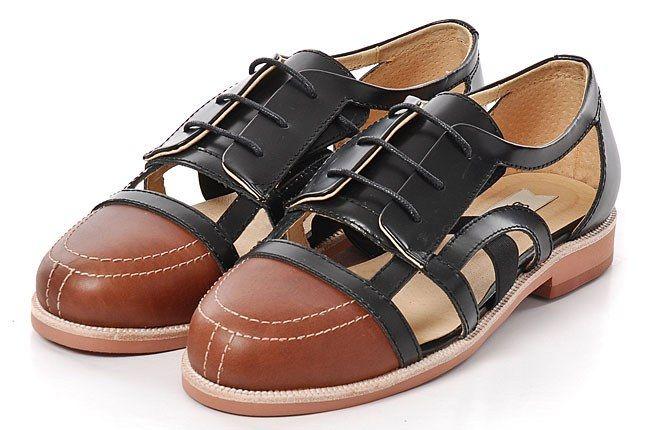 380G Black Cut Out Leather Sandal 1 1
