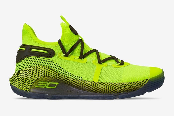 Hi Vis Yellow Under Armour Curry 6 Lateral
