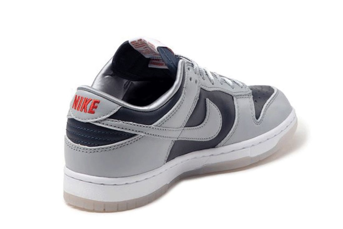 nike dunk low college navy wolf grey on white