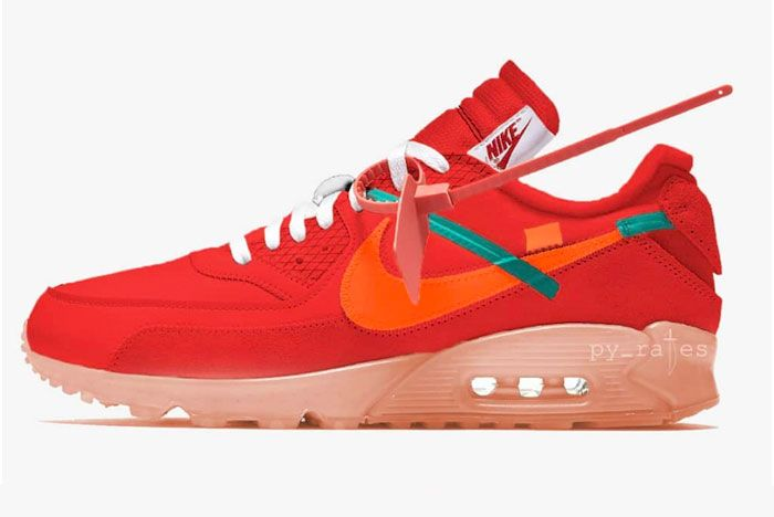 Off White Nike Air Max 90 University Red Left