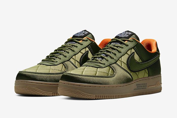 Nike Air Force 1 Low Quilted Olive Flight Jacket Cu6724 333 Front Angle