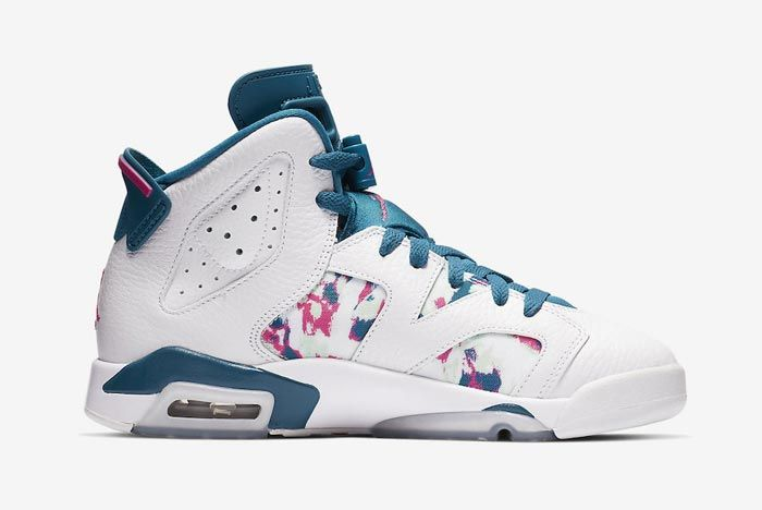 Air Jordan 6 Kids Green Abyss Laser Fuchsia Side