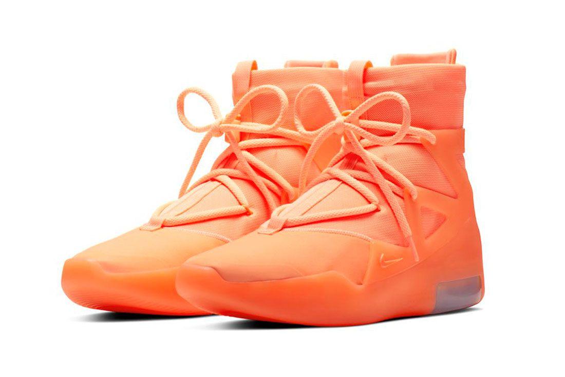 Nike Air Fear Of God 1 Orange Pulse Three Quarter Angle Shot