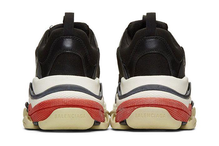 Balenciaga Triple S Sneaker Smudged Distressed Colorway 5 Heel