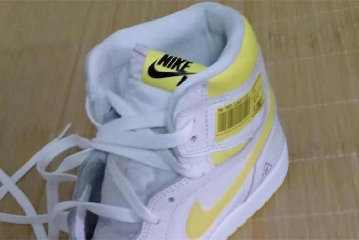 Air Jordan 1 White Yellow Barcode Tongue Shot