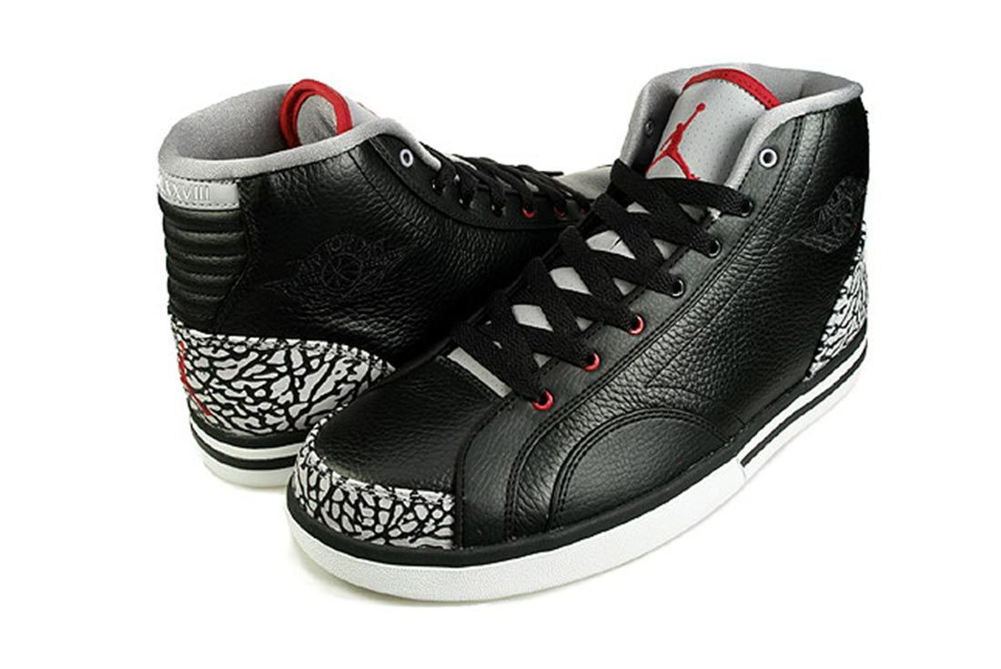 Air Jordan Phly Legends Black Cement Three Quarter Angle Shot