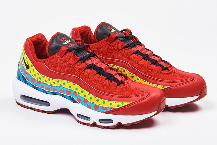Nike Air Max 95 Foot Locker Home And Away Red White Pair Three Quarter Shot