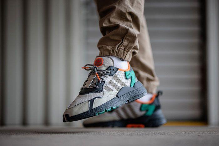 Adidas Nite Jogger Grey Green Ee5569 On Foot Raised