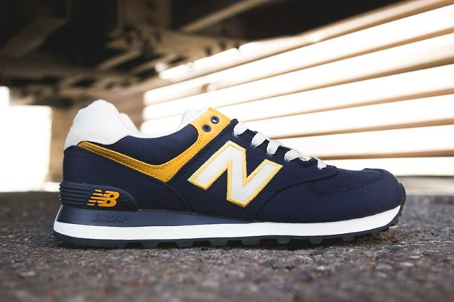 New Balance 574 Rugby Pack Yellow Navy Profile 1