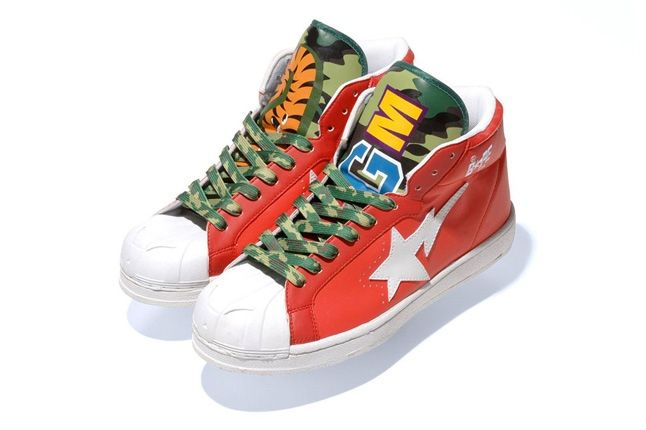 A Bathing Ape 2013 Spring Summer Shark Leather Big Tongue Ultra Skull Sta Red 1