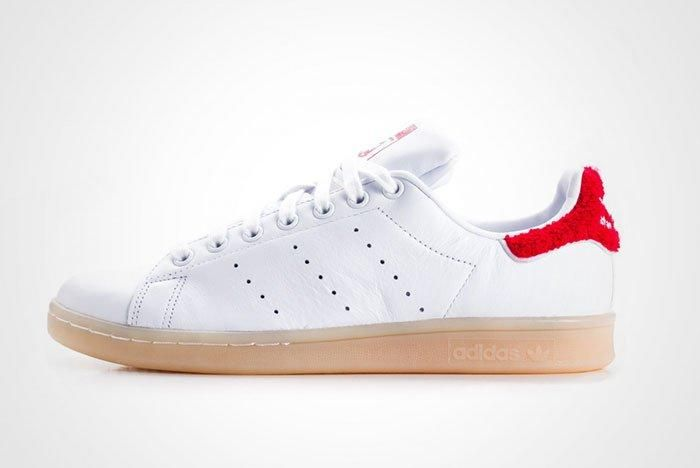 Adidas Stan Smith Fuzzy Heel White Red Womens Thumb